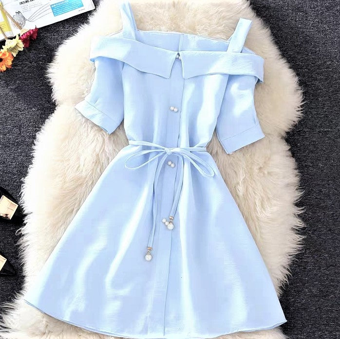 Frilled Collar Off-shoulder Self-Tie Belt Dress