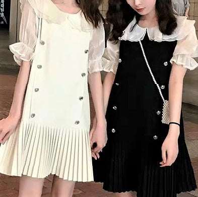 Lace Fringe Trim Collar Dress
