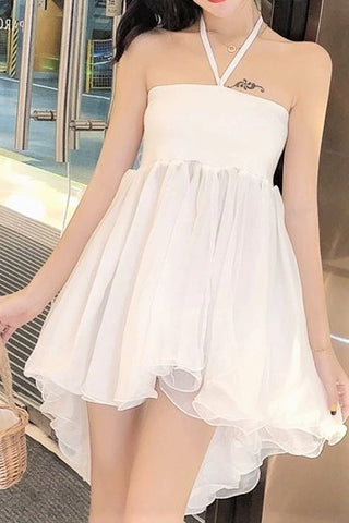 Drawstring Neckline Sheer Lace Dress