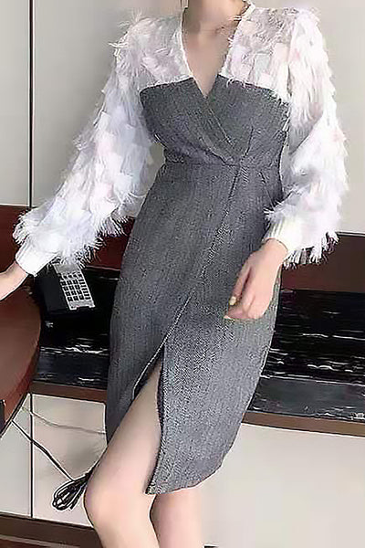 Feather Textured Long Sleeve Dress