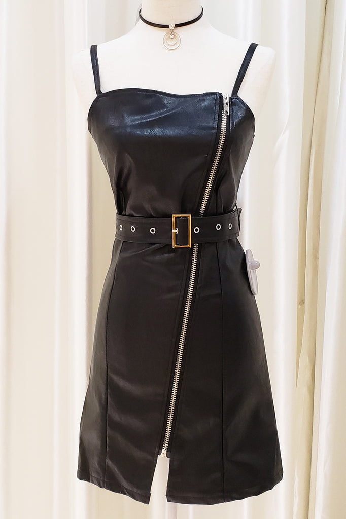 Faux Leather Belted Tube Dress