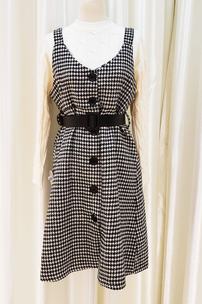 Tweed Buttoned Front Strap Dress