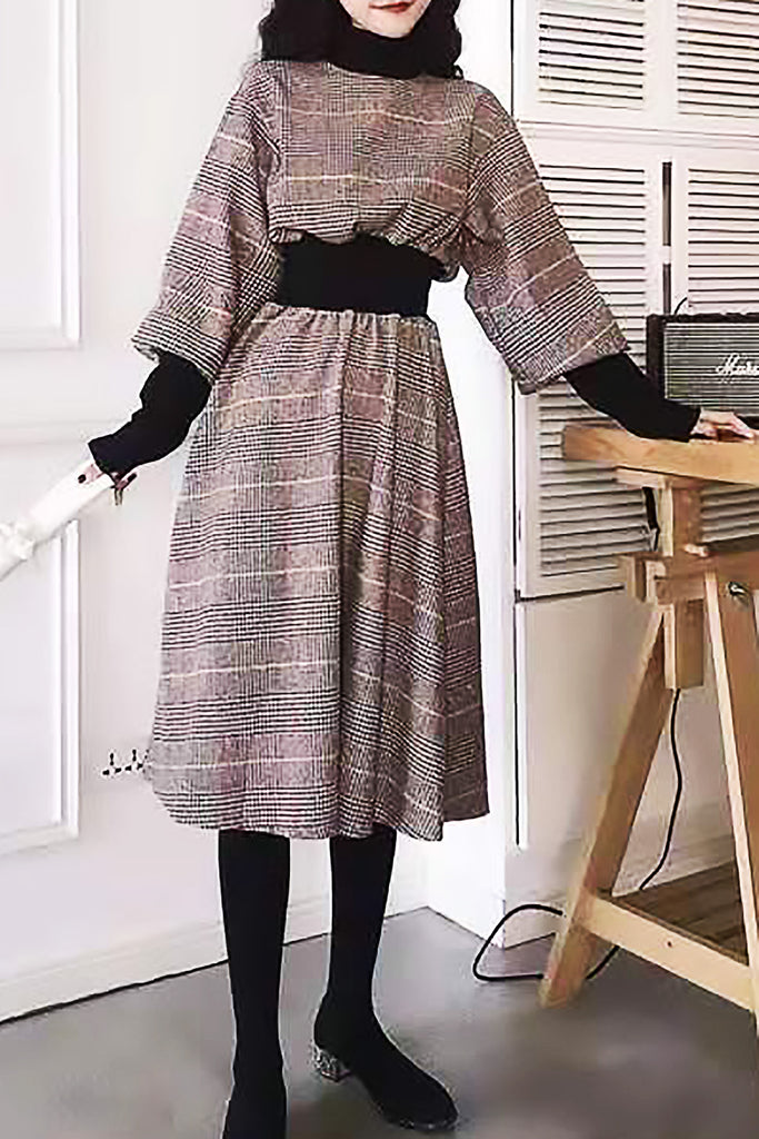 Tweed Elastic Waist Turtleneck Dress