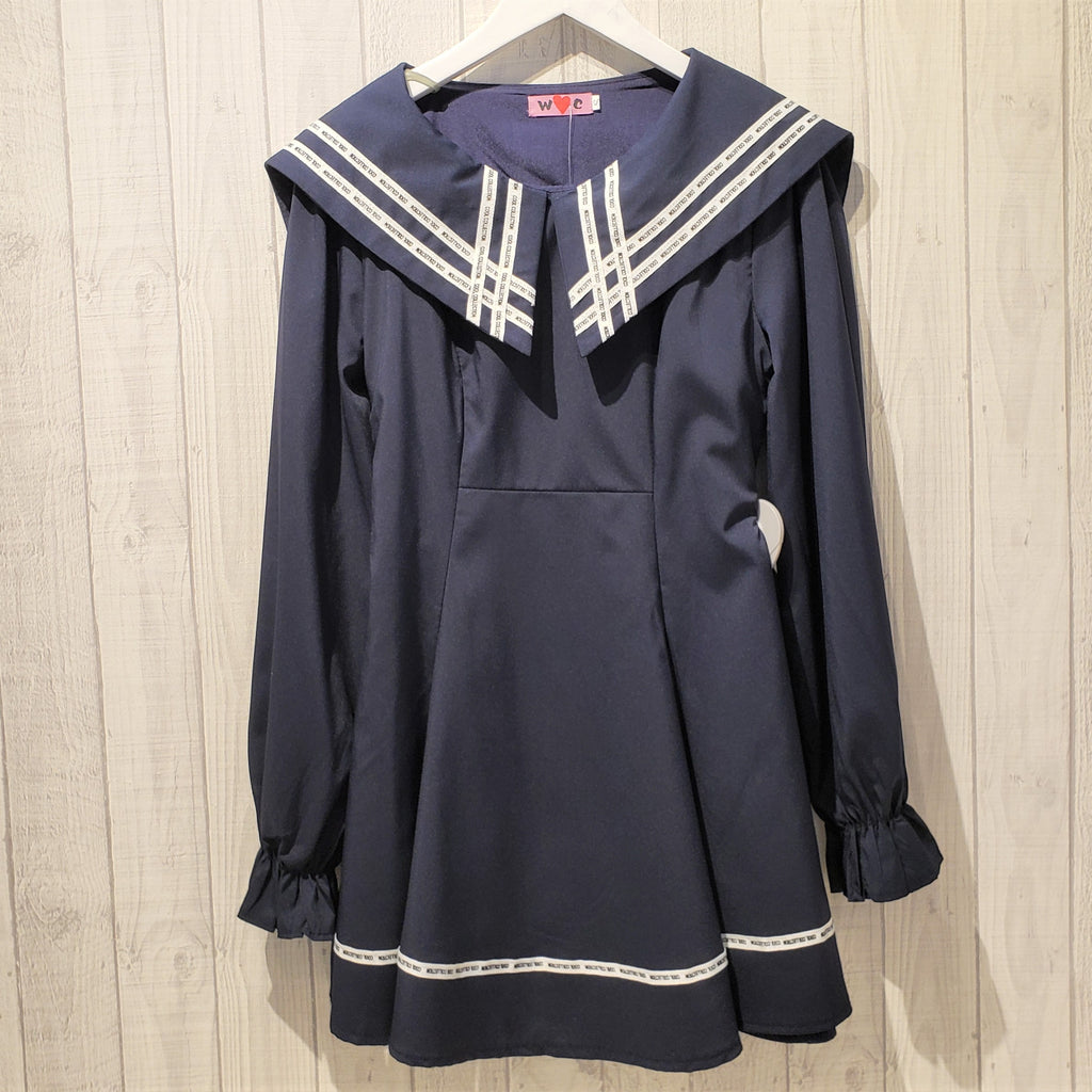 Sailor Collar Bishop Sleeve Dress