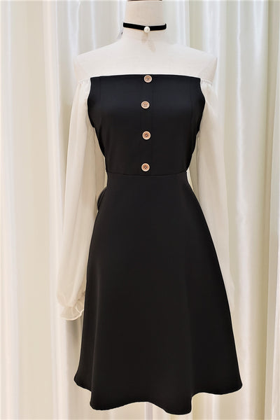 Open-shoulder Bishop Sleeve Dress