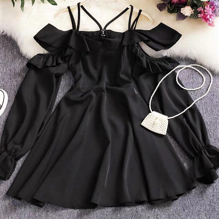 Double Strap Open-shoulder Dress