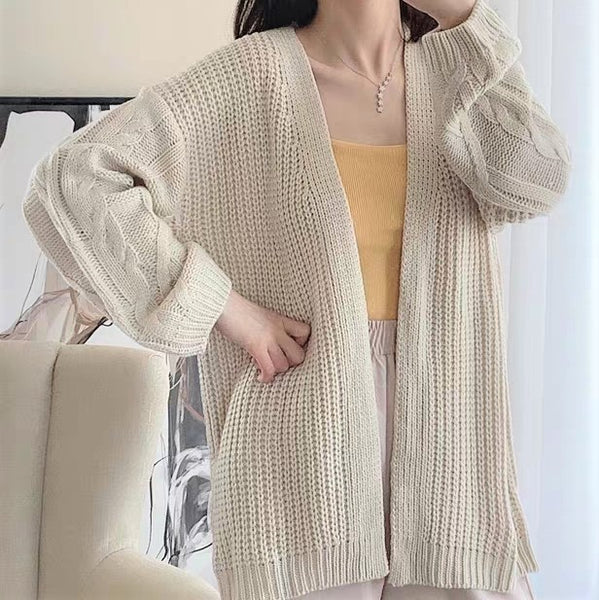 Knitted Cable Pattern Cardigan