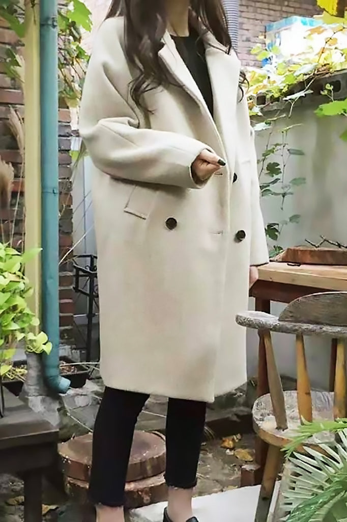 Double-Breasted Woolen Long Coat