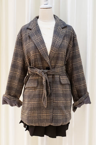 Belted Check Printed Woolen Coat