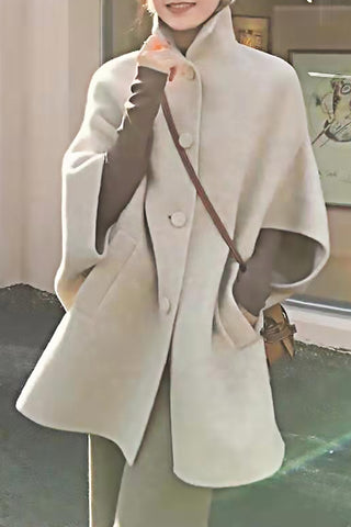 Mid-Sleeve Single-Breasted Woolen Coat