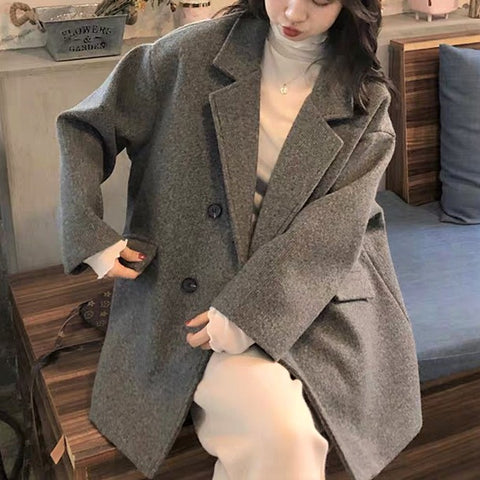Notch Lapel Woolen Jacket