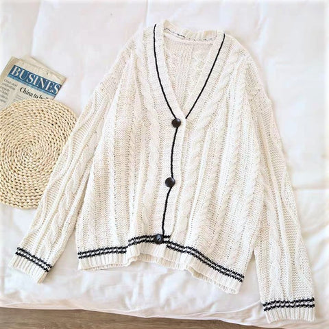 Button-Down Stripe Print Cardigan