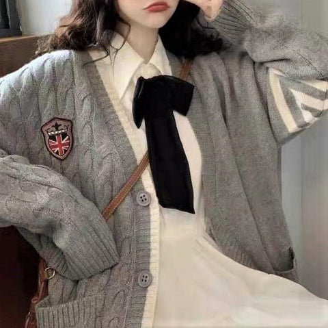 Badge Embroidery Button-Down Cardigan
