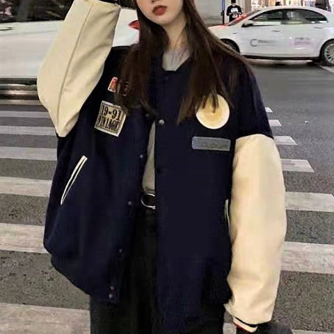 Badge Embroidery Baseball Button-Down Jacket
