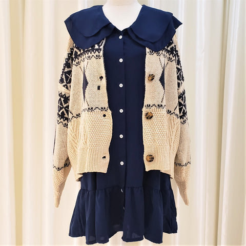 Braid Patterned Button-Down Cardigan