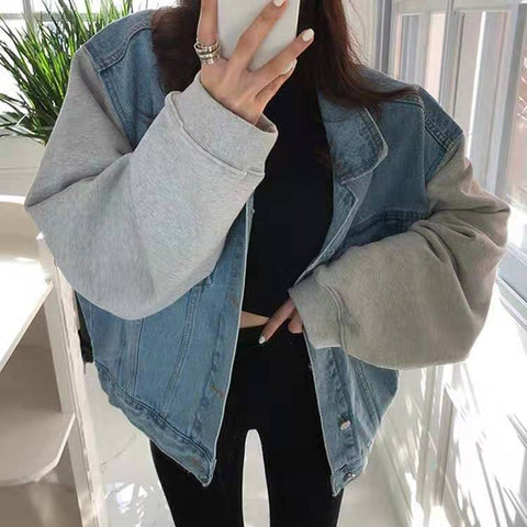 Contrast Trim Oversized Denim Jacket