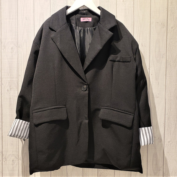 Roll Capped Sleeves Notch Lapel Jacket