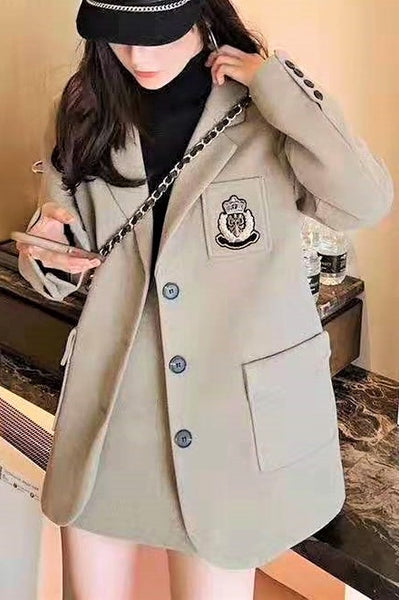 Badge Embroidery Notch Lapel Jacket