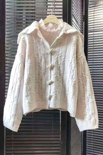 Cable Knit Toggle Closure Cardigan