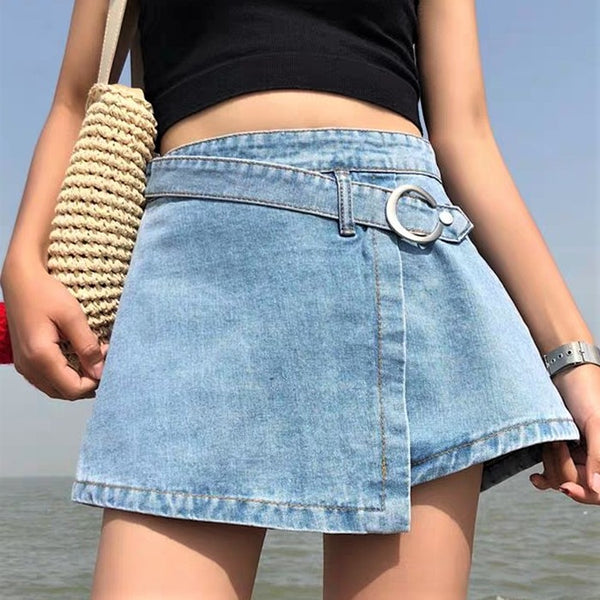Front Buckled Button-Down Denim Shorts