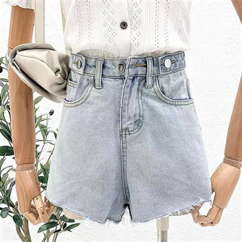 Front Buckled Slit Hem Denim Shorts