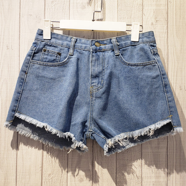 Fringe Trim Denim Shorts