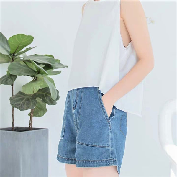 Patch-Pocket Denim Shorts