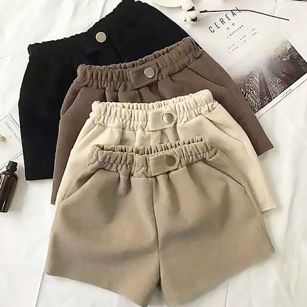 Single Tone Elastic Waist Woolen Shorts
