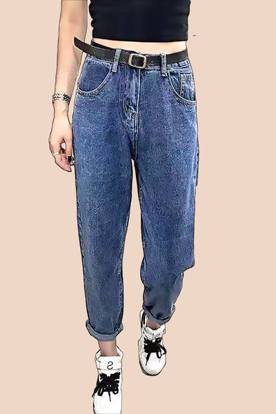 Wide-Legged Faded Jeans