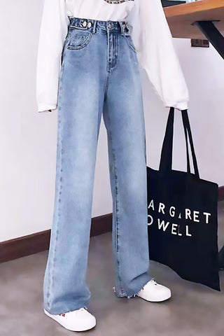 Wide-Legged Straight-Cut Jeans