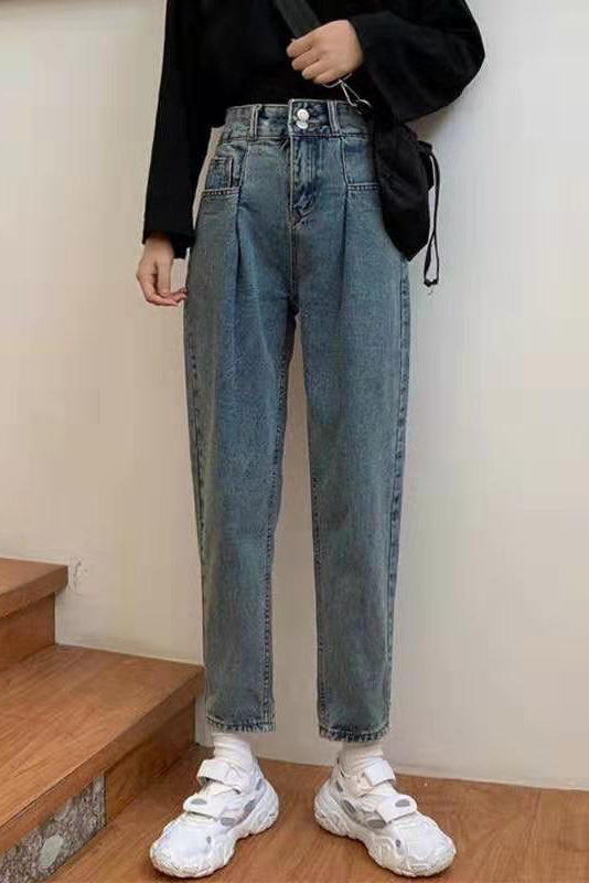 High-Waisted Denim Jeans