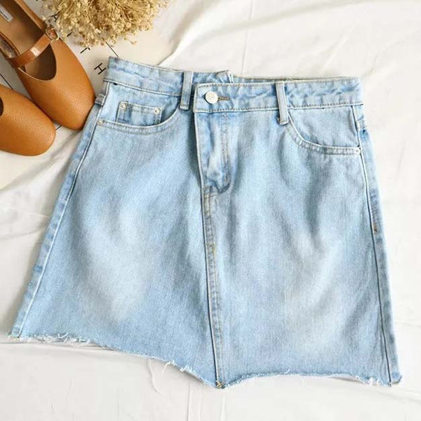 Frayed Hem Asymmetrical Denim Skirt