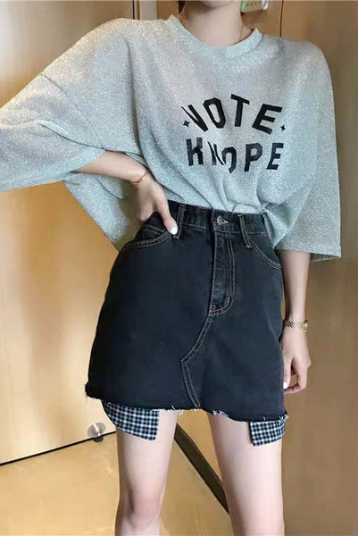 Raw-Edged Hem Denim Skirt
