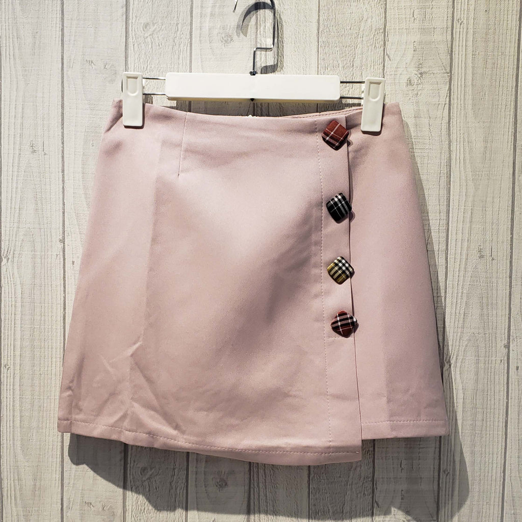 Fabric Covered Button Mini Skirt