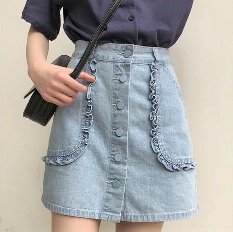 Buttoned Front Patch-Pocket Denim Skirt