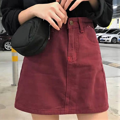 Single Tone Basic Denim Skirt