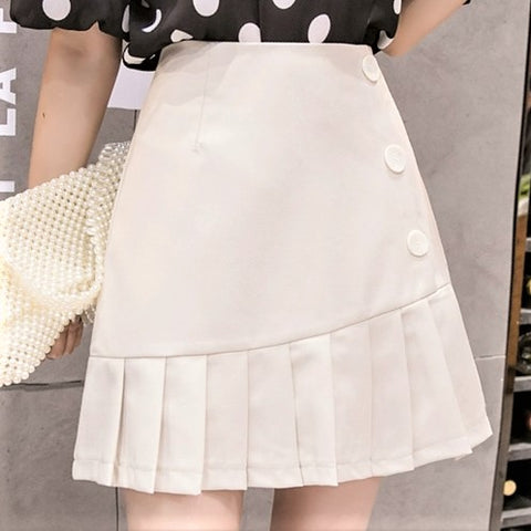Buttoned Side Pleated Skirt