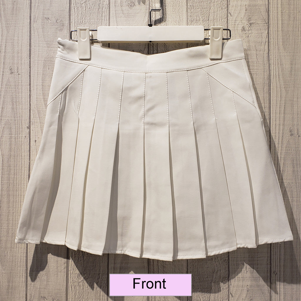 Pleated Single Tone Mini Skirt