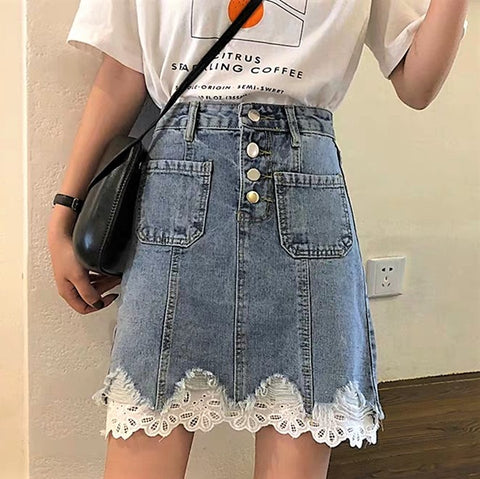 Lace Trim Patch-Pocket Denim Skirt