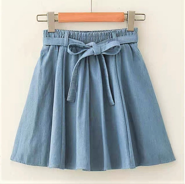 A-Line Self-Tie Bow Denim Skirt