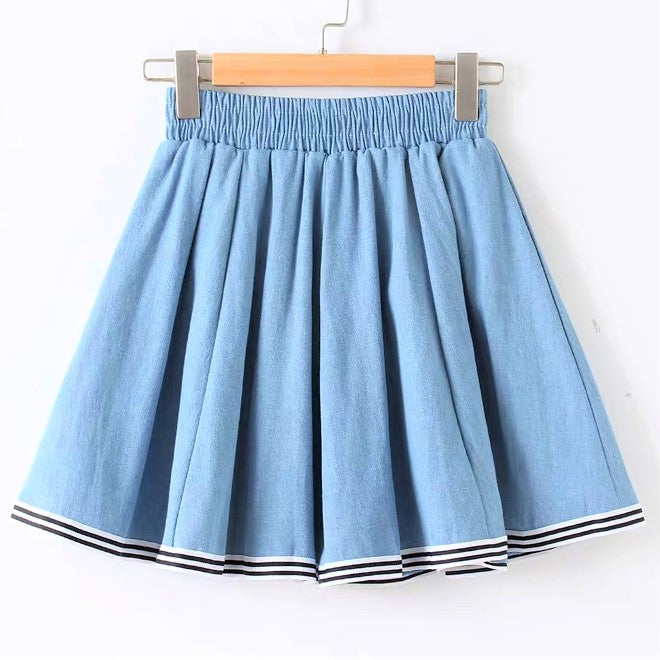 A-Line Stripe Trim Denim Skirt
