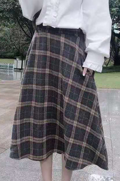 Check Printed Woolen Skirt