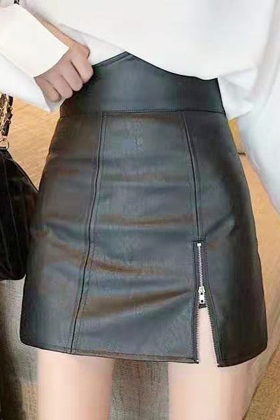 High-Waisted Faux Leather Mini Skirt