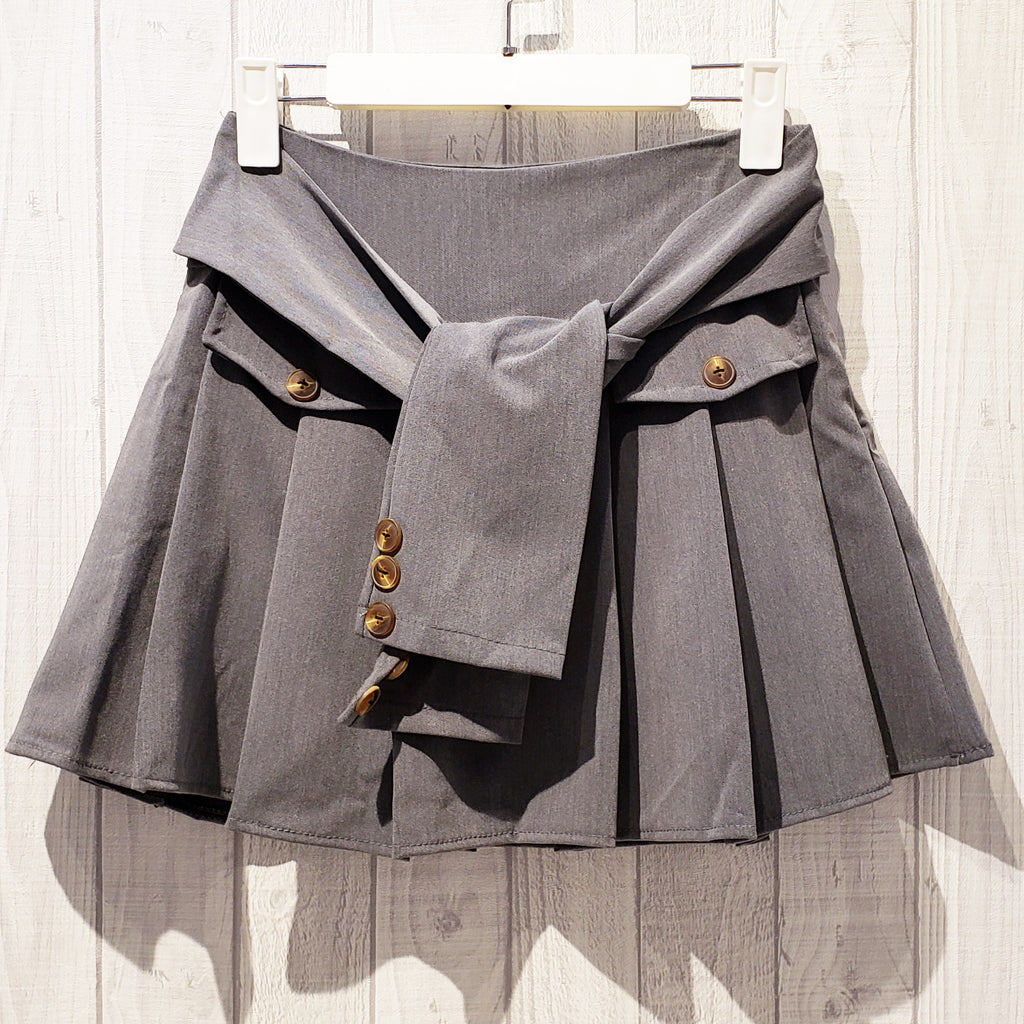 Single Tone Pleated Mini Skirt