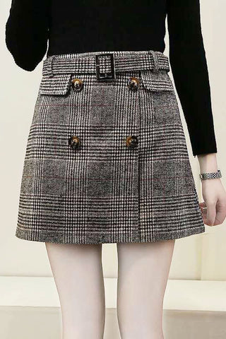 Belted Tweed Mini Skirt