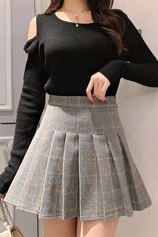 Check Printed A-Line Skirt