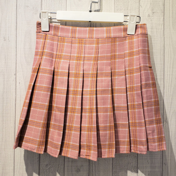 Check Printed Pleated Mini Skirt