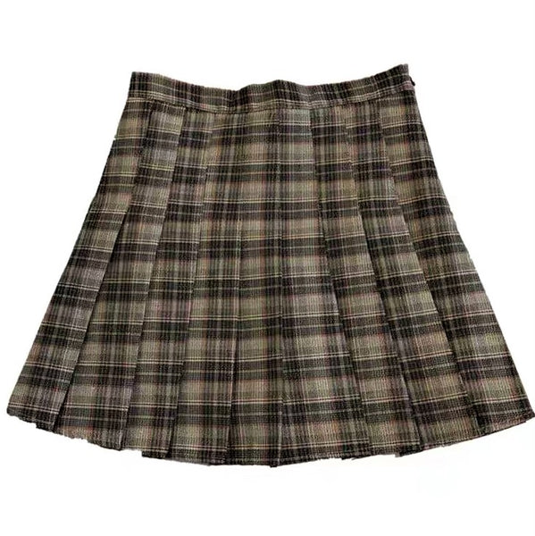 A-Line Check Printed Pleated Skirt