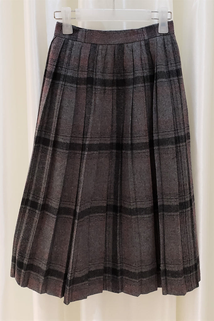 Vintage Checked Midi Skirt