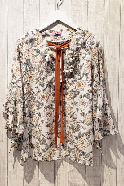 Floral Print Frill Trim Front-Bow Blouse